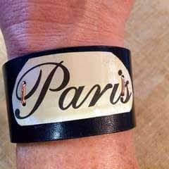 Up Cycled Belt Leather Cuff Bracelet with Vintage Tin 'Paris' Accent