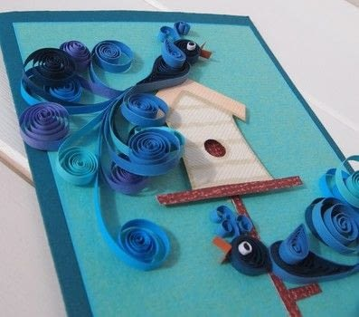 Quilled Bird Card .  Free tutorial with pictures on how to make a quilled greetings card in under 60 minutes by quilling with card, card, and cream. Inspired by birds. How To posted by Elizabeth  Moad.  in the Papercraft section Difficulty: 4/5. Cost: No cost. Steps: 6