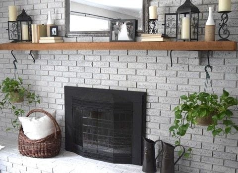 How to easily whitewash a brick wall. .  Free tutorial with pictures on how to make a fireplace in 4 steps using water, paint brush, and paint. Inspired by rooms in the house and house. How To posted by Marly D.  in the Home + DIY section Difficulty: 3/5. Cost: Cheap.