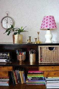 Paint a plain white lampshade to match for bohemian / contemporary style .  Free tutorial with pictures on how to make a lamp / lampshade in 13 steps using pencil, ruler, and tape. How To posted by Sannu Vaarala.  in the Decorating section Difficulty: 3/5. Cost: Cheap.