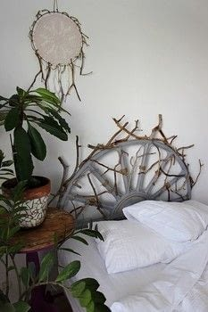 Use paint and driftwood to completely change the look of an old rattan headboard. .  Free tutorial with pictures on how to make a bed headboard in 8 steps using headboard, chalk paint, and driftwood. How To posted by Sannu Vaarala.  in the Home + DIY section Difficulty: 4/5. Cost: 3/5.
