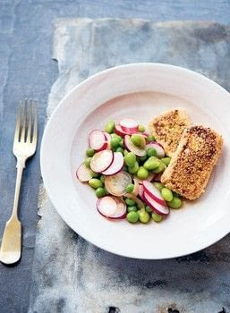 Seeded wasabi tofu with pea, edamame and radish salad .  Free tutorial with pictures on how to cook a tofu / quorn dish in under 20 minutes by cooking with silken tofu, wasabi, and sesame seeds. Recipe posted by Creative Publishing international.  in the Recipes section Difficulty: Simple. Cost: Cheap. Steps: 5