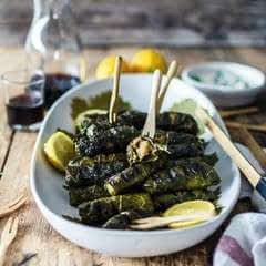 Grilled Stuffed Vine Leaves Filled With Delicious Herb Quinoa