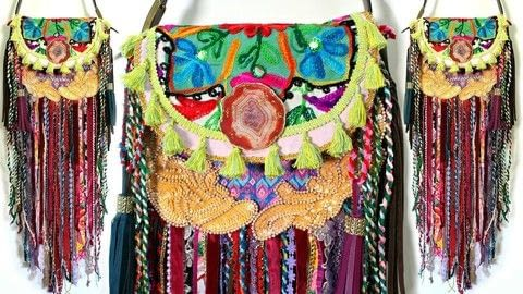 Turn a thrift store purse into a Boho Festival Bag!  .  Free tutorial with pictures on how to make a shoulder bag in under 120 minutes by knotting, stencilling, upholstering, yarncrafting, and not sewing with applique, purse, and fringe. How To posted by Mark Montano.  in the Other section Difficulty: Easy. Cost: Cheap. Steps: 4