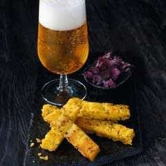 Polenta Sticks With Paprika Dip And Almond Sticks
