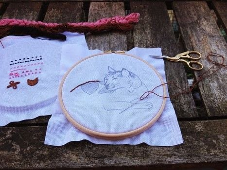 Based on a sketch of my cat Piet  .  Embroider  in under 30 minutes by embroidering with embroidery hoop, thread, and cotton cloth. Inspired by cats. Creation posted by Shortly Blank.  in the Needlework section Difficulty: Simple. Cost: Cheap.