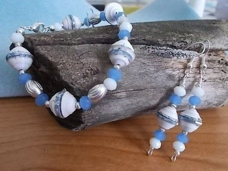 Paper beads! .  Make a paper bracelet in under 30 minutes by beading, jewelrymaking, and papercrafting with paper beads, glass beads, and earring hooks. Creation posted by crochetmommie.  in the Jewelry section Difficulty: Easy. Cost: Cheap.