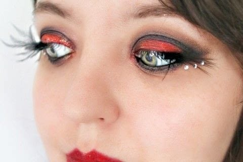 ... Recreate the look of the Moulin Rouge with red and black sparkly eyes, crystals and ...