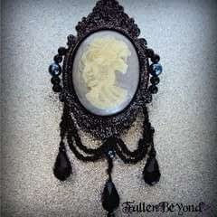 Gid Gothic Victorian Skeleton Brooch With Glitter