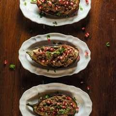 Stuffed Aubergines With Walnut And Pomegranate