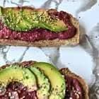 Beetroot Hummus And Avocado On Toast