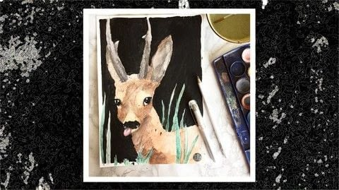 DERPY DEER .  Free tutorial with pictures on how to paint a piece of watercolor art in under 15 minutes by drawing with pencil, paper, and acrylic paint. Inspired by deer. How To posted by Art by L.  in the Art section Difficulty: Easy. Cost: No cost. Steps: 1