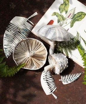 Folded Book Art .  Free tutorial with pictures on how to make a piece of book art in under 60 minutes by papercrafting with objects, plastic wrap, and petroleum jelly. Inspired by mushrooms & toadstools. How To posted by Ryland Peters & Small.  in the Papercraft section Difficulty: Simple. Cost: Absolutley free. Steps: 14