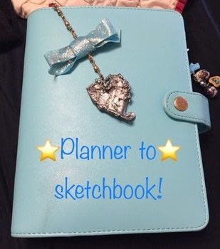 Turn a planner that's never been used into a sketchbook you will use! .  Free tutorial with pictures on how to make a sketchbook in 7 steps by creating, drawing, constructing, decorating, embellishing, jewelrymaking, papercrafting, bookbinding, cardmaking, collage, decoupaging, paper folding, scrapbooking, printing, wireworking, and not sewing with prismacolor markers and pencils, envelope, and velcro. Inspired by anime & manga, space, and stars. How To posted by Kinhime Dragon.  in the Other section Difficulty: Simple. Cost: Cheap.