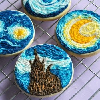 Turn this magical painting into the most spectacular cookies .  Free tutorial with pictures on how to make decorative cookies in under 180 minutes by baking, decorating food, and cake decorating with plain flour, butter, and sugar. Inspired by cookies, stars, and moon. Recipe posted by Icing Insight.  in the Recipes section Difficulty: Simple. Cost: No cost. Steps: 7