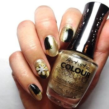 .  Free tutorial with pictures on how to paint a Christmas nail manicure in under 60 minutes using artistic colour revolution - the girl sleighs, black nail polish, and gold nail tape. How To posted by Lacquered Lawyer.  in the Beauty section Difficulty: Simple. Cost: Cheap. Steps: 4