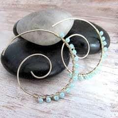 Embellished Wire Spiral Hoop Earrings