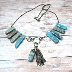 Tribal Gemstone Statement Necklace