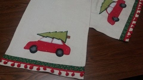 Christmas Car .  Make a kitchen project / dining project in under 90 minutes by machine sewing with fabric, christmas print ribbon, and bobble edge trim. Inspired by christmas. Creation posted by PixieFey.  in the Sewing section Difficulty: Easy. Cost: Absolutley free.