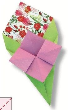Origami Love Notes Kit .  Free tutorial with pictures on how to make an origami flower in under 15 minutes by paper folding with colored paper and paper. Inspired by valentine's day. How To posted by Tuttle Publishing.  in the Papercraft section Difficulty: Simple. Cost: Cheap. Steps: 12