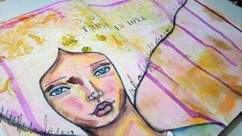 Creating a large art journal page with a face .  Free tutorial with pictures on how to make a mixed media in under 90 minutes using stencil, craft paint, and metallic paint. How To posted by Iris F.  in the Art section Difficulty: Simple. Cost: Cheap. Steps: 10