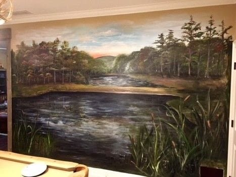 Paint a rustic pond mural.  .  Free tutorial with pictures on how to paint a landscape in 7 steps using acrylic paint and paint brush. Inspired by landscape. How To posted by BarryBelcher.  in the Art section Difficulty: 3/5. Cost: Cheap.