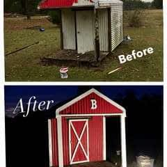 Old Corrugated Playhouse Transformation