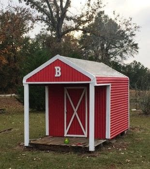 Update an old corrugated metal playhouse or storage building to look like a red barn.  .  Free tutorial with pictures on how to make an outdoor accessory in 3 steps using paint, brush, and wood. Inspired by garden. How To posted by BarryBelcher.  in the Decorating section Difficulty: Easy. Cost: No cost.