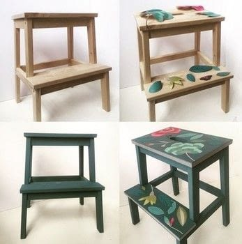 A fairly easy project that can be done in an afternoon. .  Free tutorial with pictures on how to make a stool in 5 steps by decorating with stool, pots, and wallpaper. How To posted by Gabriela Szulman.  in the Home + DIY section Difficulty: Simple. Cost: 3/5.