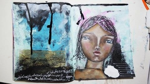 Learn some raw art journaling techniques .  Free tutorial with pictures on how to make a mixed media in under 60 minutes using craft paint, applicator bottle, and india ink. How To posted by Iris F.  in the Art section Difficulty: Simple. Cost: Cheap. Steps: 10
