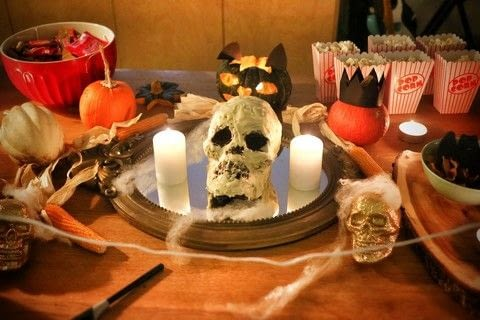 Add the perfect centrepiece to your Halloween table with a black velvet skull cake! .  Free tutorial with pictures on how to bake a red velvet cake in under 120 minutes by baking and decorating food with cake tin, butter, and sugar. Inspired by halloween and skulls & skeletons. Recipe posted by Cat Morley.  in the Recipes section Difficulty: 3/5. Cost: Cheap. Steps: 9