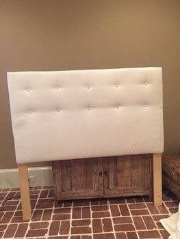 Make a simple tufted headboard  .  Free tutorial with pictures on how to make a bed headboard in under 180 minutes using staples, dropcloth, and cotton batting. Inspired by bedroom. How To posted by BarryBelcher.  in the Home + DIY section Difficulty: Easy. Cost: Cheap. Steps: 9