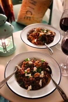 Mulled wine infused vegetarian spaghetti bolognese with pine nuts, walnuts, cranberries and goats cheese! .  Free tutorial with pictures on how to cook a spaghetti dish in under 25 minutes by cooking with quorn, spaghetti, and garlic. Inspired by christmas. Recipe posted by Cat Morley.  in the Recipes section Difficulty: Simple. Cost: Cheap. Steps: 7