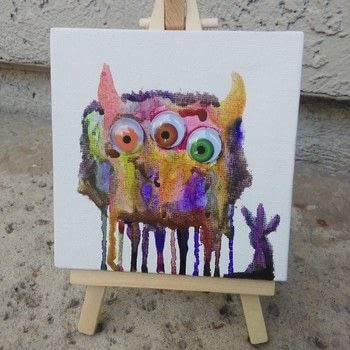 ..a monster painting, that is!.. .  Free tutorial with pictures on how to paint a piece of watercolor art in under 15 minutes by creating and drawing with paint brush, canvas, and watercolor paint. How To posted by MoFunAccesories.  in the Art section Difficulty: Easy. Cost: 3/5. Steps: 7