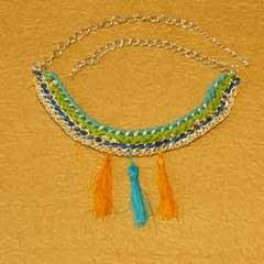 Chain And Cotton Necklace