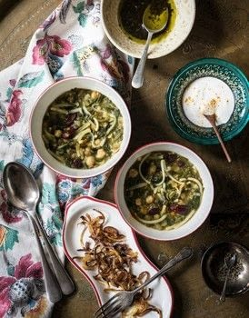 The Legendary Cuisine of Persia .  Free tutorial with pictures on how to cook a noodle soup in under 35 minutes by cooking with onion, chickpeas, and turmeric. Recipe posted by Grub Street Publishing.  in the Recipes section Difficulty: Simple. Cost: Cheap. Steps: 6