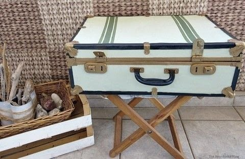Giving a new look to an old vintage suitcase .  Free tutorial with pictures on how to make a suitcase / trunk in 6 steps using acrylic paint, americana decor chalky finish paint, and decoart metallic lustres. Inspired by vintage & retro and acrylic paint. How To posted by Mary-The Boondocks Blog ..  in the Home + DIY section Difficulty: Simple. Cost: Cheap.