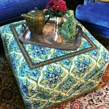 Boho Ottoman DIY .  Free tutorial with pictures on how to make a seat in under 180 minutes by constructing, upholstering, woodworking, and not sewing with glue gun, trim, and staple gun. How To posted by Mark Montano.  in the Home + DIY section Difficulty: Simple. Cost: 3/5. Steps: 3