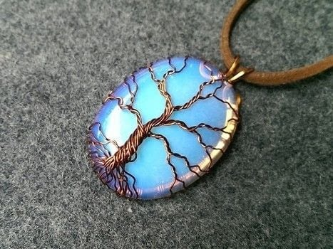 Wire a Tree Of Life pendant. .  Free tutorial with pictures on how to make a pendant necklace in under 18 minutes by jewelrymaking and wireworking with copper wire and opalite. How To posted by Lan Anh Handmade.  in the Jewelry section Difficulty: 3/5. Cost: No cost. Steps: 1