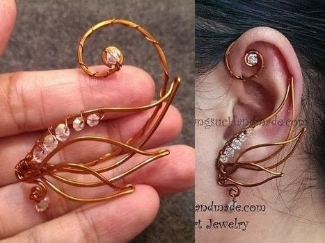 Wire an angel wing ear cuff .  Free tutorial with pictures on how to make a cuff earring in under 10 minutes by jewelrymaking and wireworking with copper wire and beads. How To posted by Lan Anh Handmade.  in the Jewelry section Difficulty: 3/5. Cost: No cost. Steps: 1
