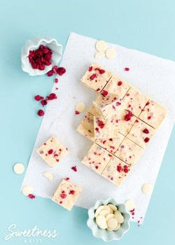 Life is hard. This white chocolate and raspberry fudge slice is easy. And it makes life better. .  Free tutorial with pictures on how to bake a bar / slice in under 75 minutes by cooking and baking with sweetened condensed milk, butter, and white chocolate. Recipe posted by Sweetness & Bite.  in the Recipes section Difficulty: Easy. Cost: No cost. Steps: 7