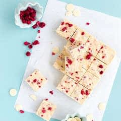 White Chocolate & Raspberry Fudge Slice