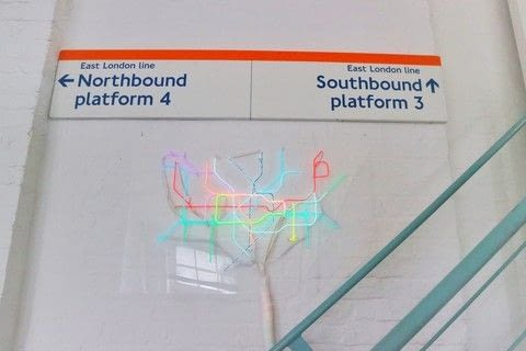 Make your own Neon sign inspired light-up tube map with EL wire! .  Free tutorial with pictures on how to make a decorative light in under 180 minutes by decorating with plastic, tube map, and el wire. Inspired by london underground. How To posted by Cat Morley.  in the Decorating section Difficulty: 3/5. Cost: 3/5. Steps: 37