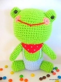 Crochet a Mr Frog plushie .  Free tutorial with pictures on how to make an animal plushie in under 180 minutes by crocheting and amigurumi with acrylic yarn, eyes, and fiberfill. Inspired by frogs. How To posted by jennyandteddy.  in the Yarncraft section Difficulty: 3/5. Cost: Cheap. Steps: 4