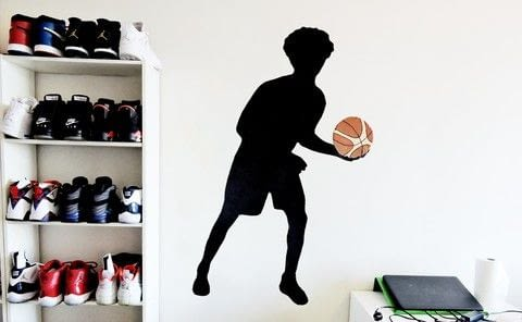 Inexpensive and easy to make .  Free tutorial with pictures on how to make a wall decal in under 120 minutes using glue stick, clear tape, and white glue. Inspired by bedroom, basketball, and black. How To posted by Niche  Y.  in the Home + DIY section Difficulty: Simple. Cost: Cheap. Steps: 19