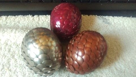 Drawing pin dragon eggs .  Free tutorial with pictures on how to make a misc in under 30 minutes using nail polish, pins, and drawing. Inspired by dragon and game of thrones. How To posted by jackie c.  in the Decorating section Difficulty: Simple. Cost: Cheap. Steps: 4