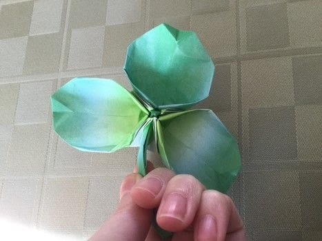 Origami Shamrock  .  Fold an origami shape in under 25 minutes by paper folding, paper folding, and  with square sheet of paper. Inspired by st patrick's day, shamrocks, and clovers. Creation posted by The Dark Vixen.  in the Papercraft section Difficulty: 3/5. Cost: Absolutley free.