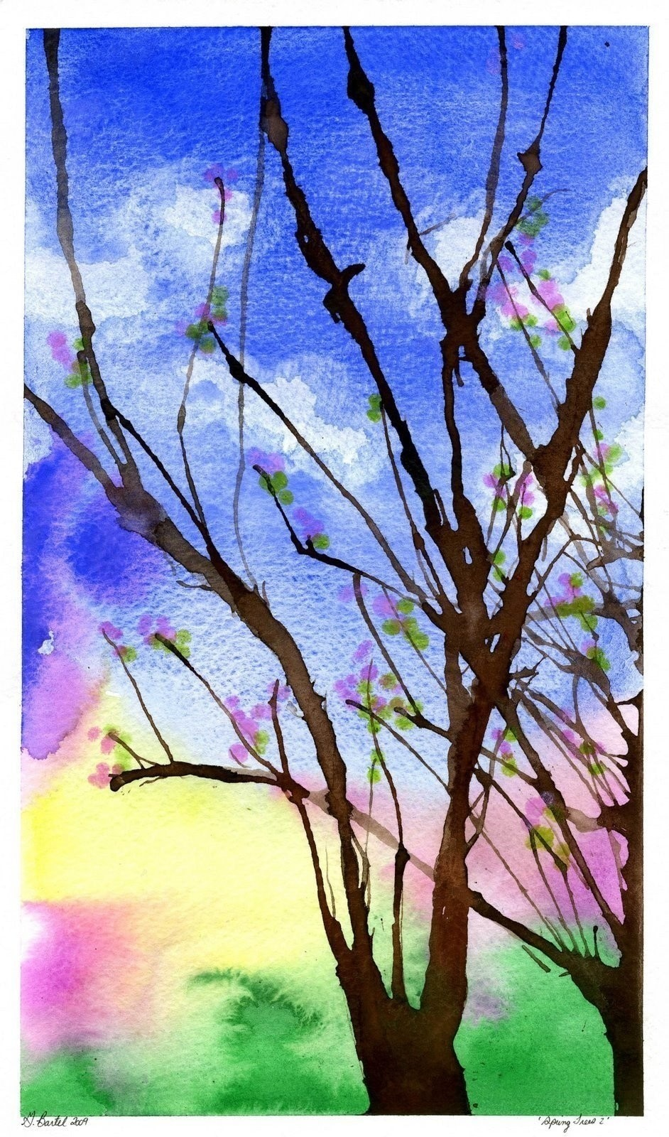 3592c75ae318 Painting Spring Trees · How To Paint A Piece Of Watercolor Art · Art ...