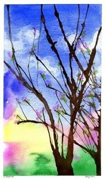 Watercolour painting, spring, trees .  Free tutorial with pictures on how to paint a piece of watercolor art in under 90 minutes by creating with watercolourpaper, watercolour, and straw. How To posted by thatartistwoman.  in the Art section Difficulty: Easy. Cost: Cheap. Steps: 6