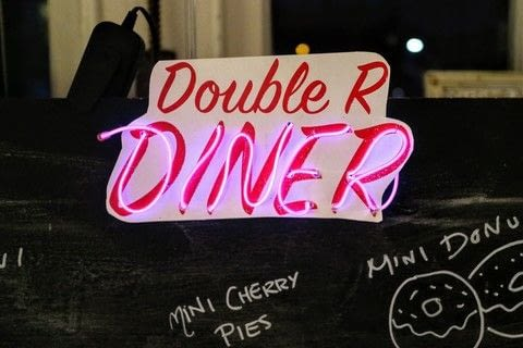 A super simple and fast sign Diner sign for a party! .  Free tutorial with pictures on how to make a plaque / sign in under 60 minutes by decorating with paper, double sided tape, and card. How To posted by Cat Morley.  in the Home + DIY section Difficulty: Simple. Cost: Cheap. Steps: 14
